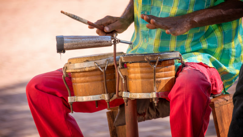 Street musician playing drums in Trinidad