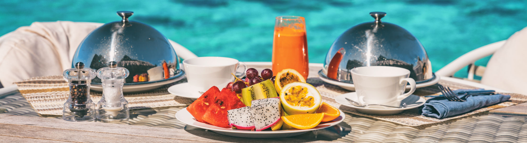Plate of fruit served by the pool in the Seychelles