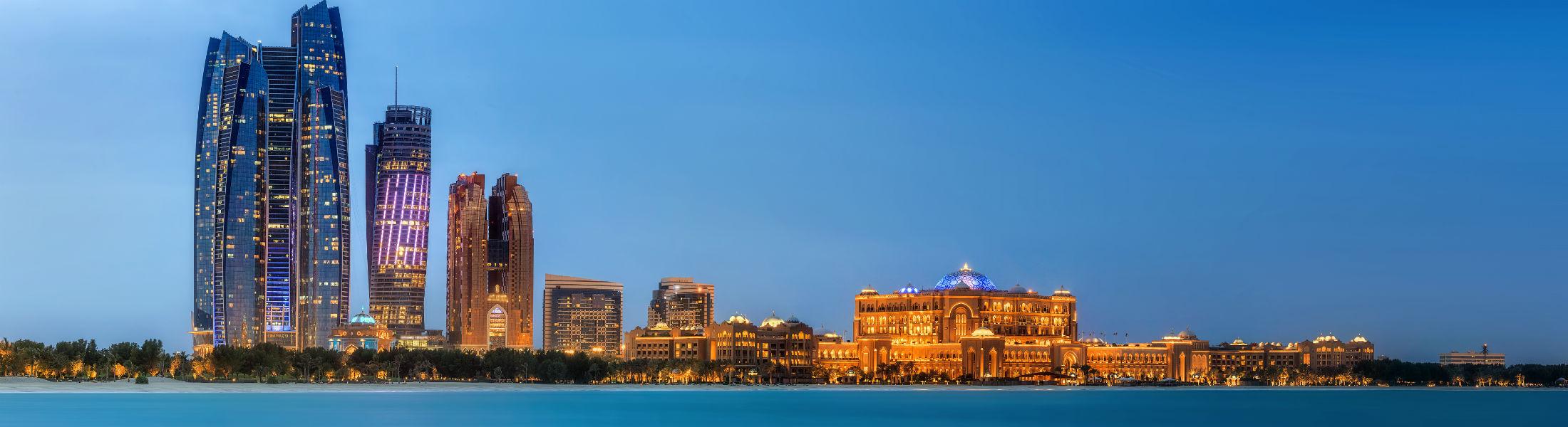 Abu Dhabi Skyline at sunset United Arab Emirates