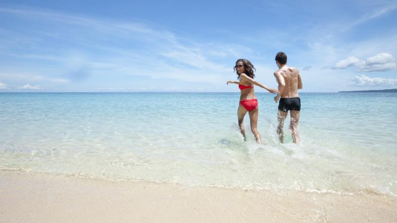 couple on a beautiful beach Boracay in Philippines