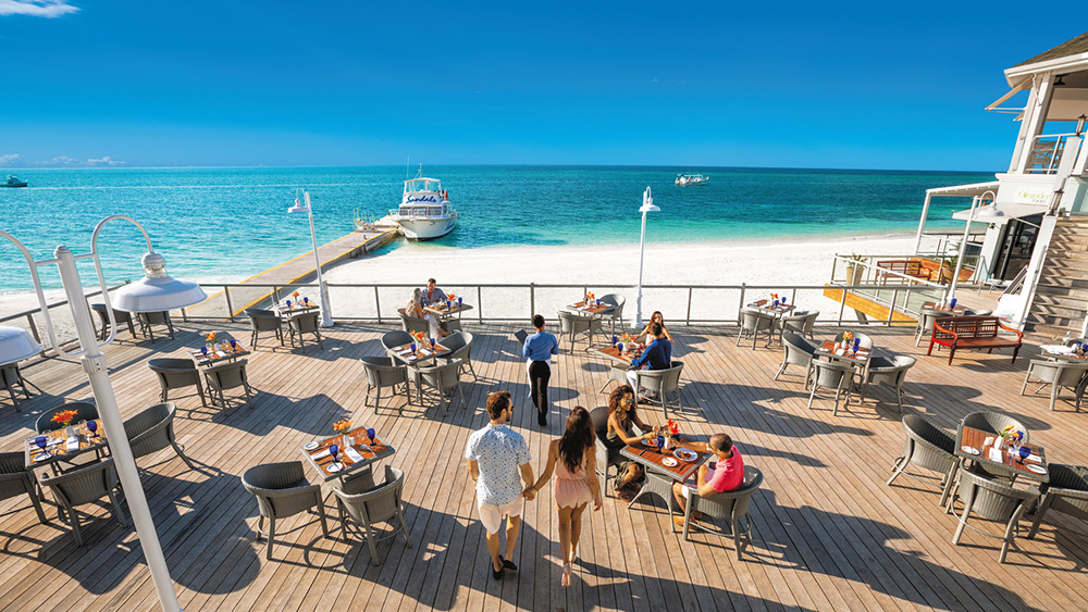 Outdoor dining at Bayside restaurant at Sandals Montego Bay