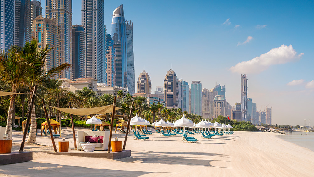 Cabanas at the beach at Arabian Court at One&Only Royal Mirage
