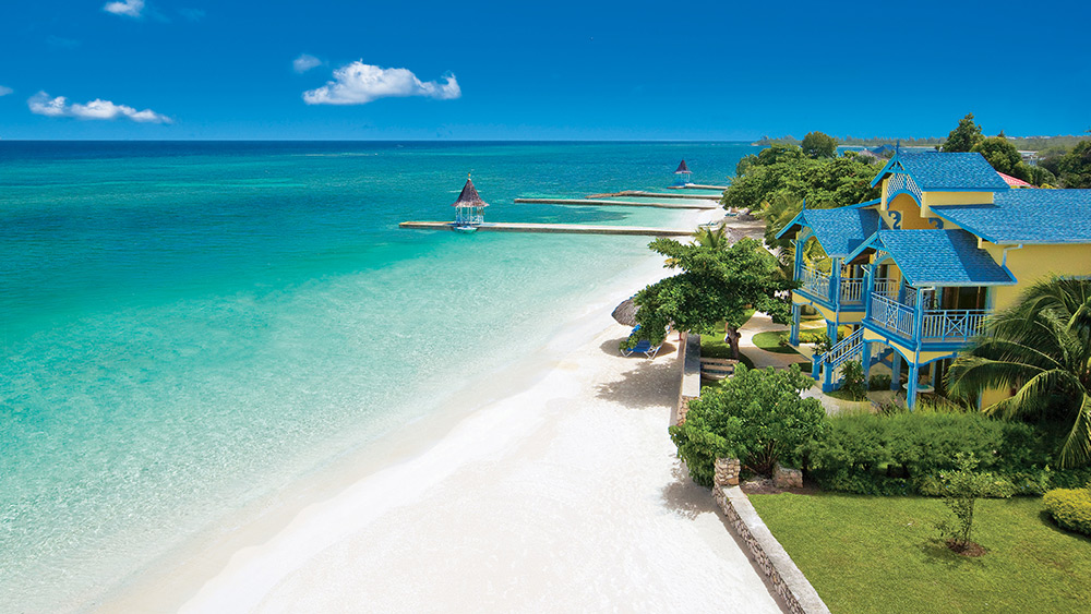 White sand beach at Sandals Montego Bay