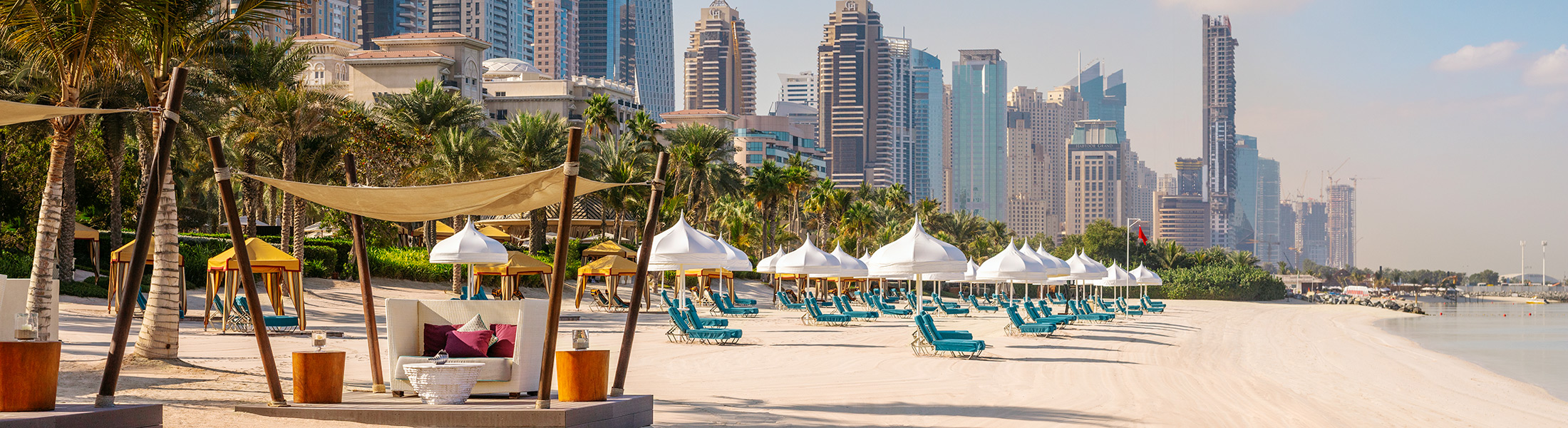 Beach cabanas at Arabian Court One&Only Royal Mirage