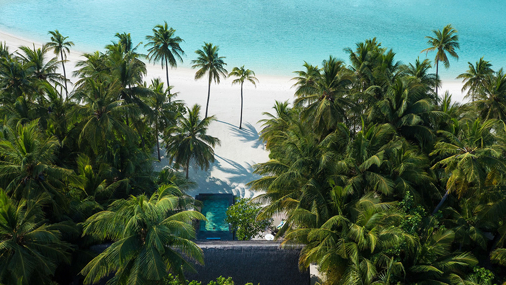 Aerial view of a beach villa with Pool at One&Only Reethi Rah