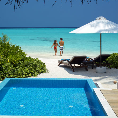 Beach Villa with Pool Lagoon view Velassaru Maldives