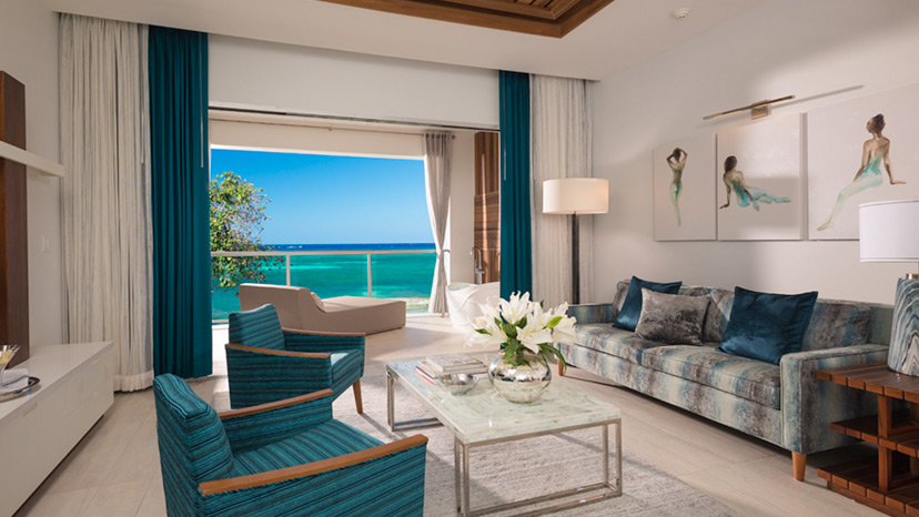 Living area of Beachfront Millionaire One Bedroom Butler Suite at Sandals Montego Bay