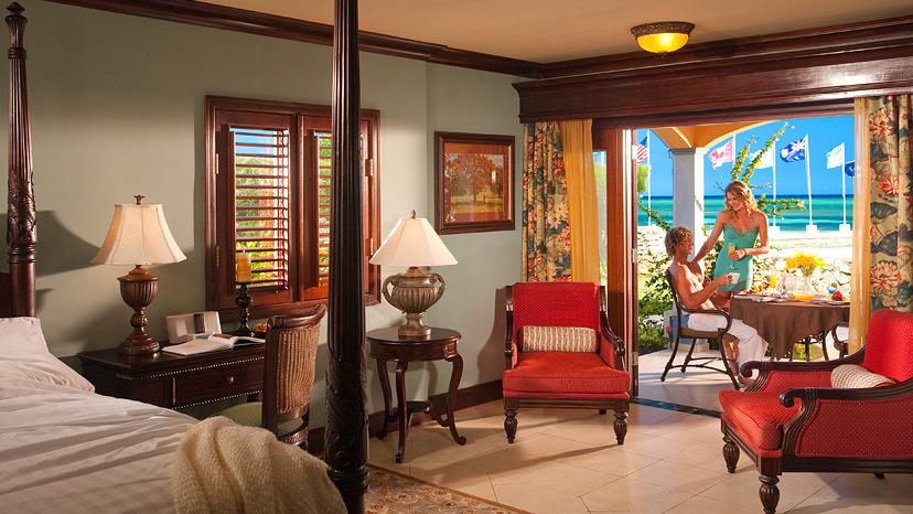 Bedroom of the Beachfront Royal Butler Villa Suite at Sandals Montego Bay