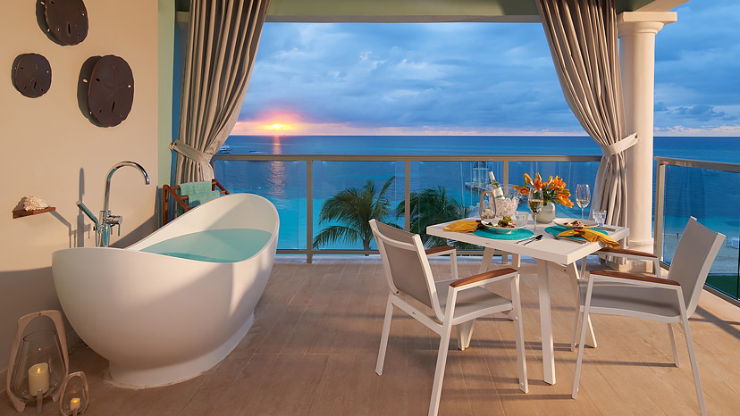 Balcony of the Beachfront Super Luxe One Bedroom Butler Suite at Sandals Montego Bay