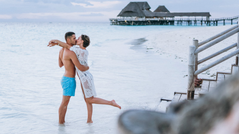 Couple together on a vacation by the ocean in Zanzibar