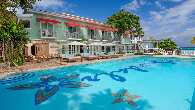 Exterior of the Caribbean Seaside Oceanview Luxury Room at Sandals Montego Bay