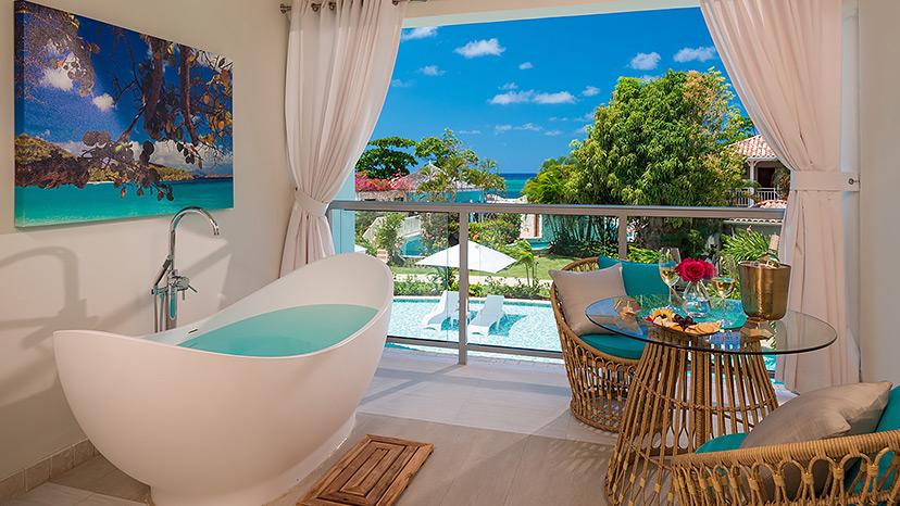 Balcony of the Crystal Lagoon Honeymoon Oceanview One Bedroom Butler Suite at Sandals Montego Bay