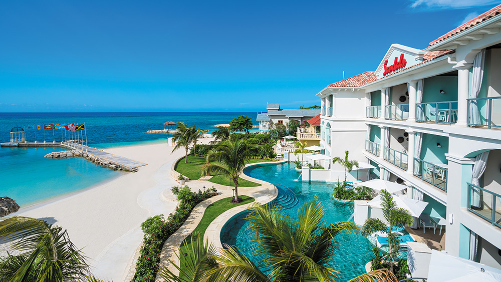 Beach and Crystal Lagoon pool at Sandals Montego Bay