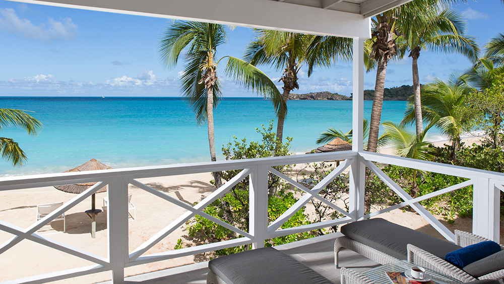 Balcony of the Deluxe Beachfront Room at Galley Bay Resort & Spa