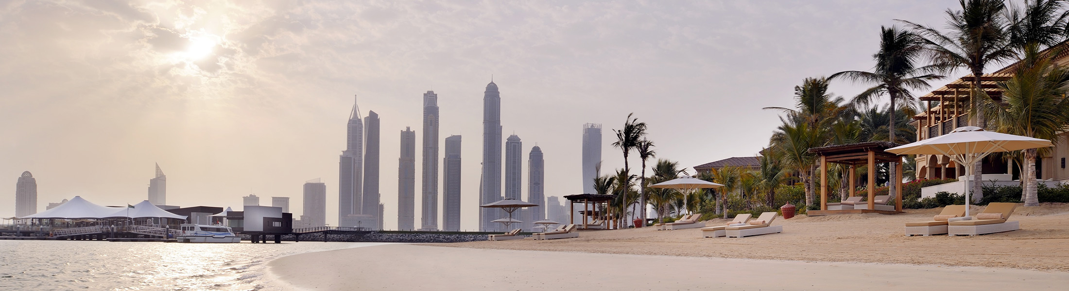 Dubai skyline from the beach at Manor House at One&Only The Palm
