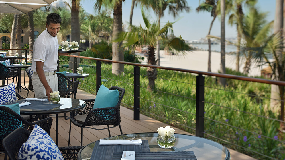Outdoor seating at Esplanade at One&Only Royal Mirage The Palace