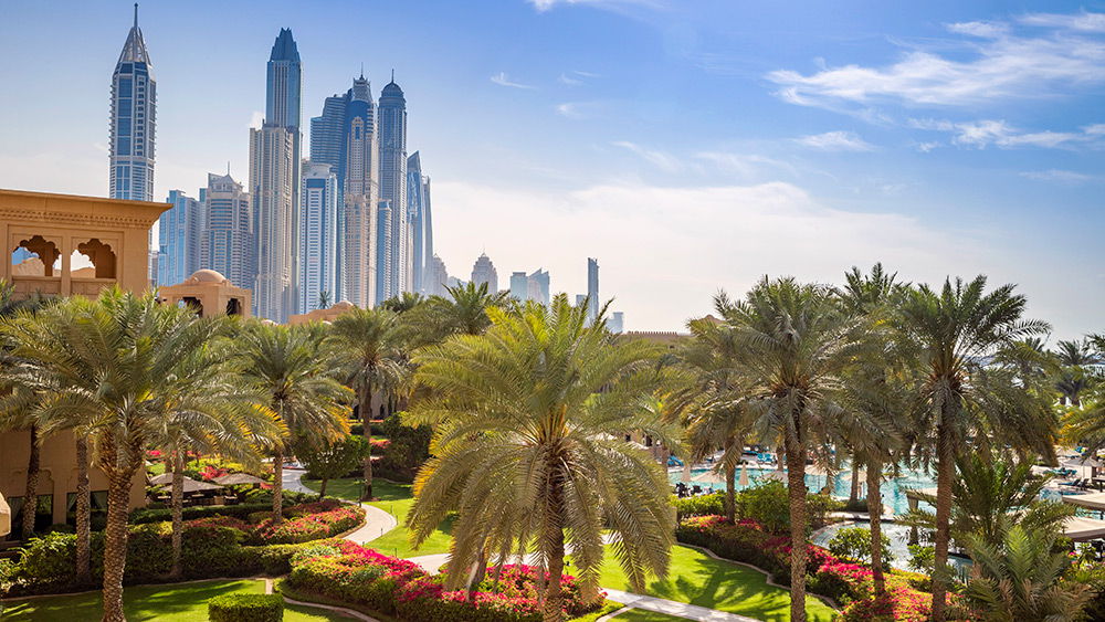 Dubai skyline from the gardens at Arabian Court at One&Only Royal Mirage