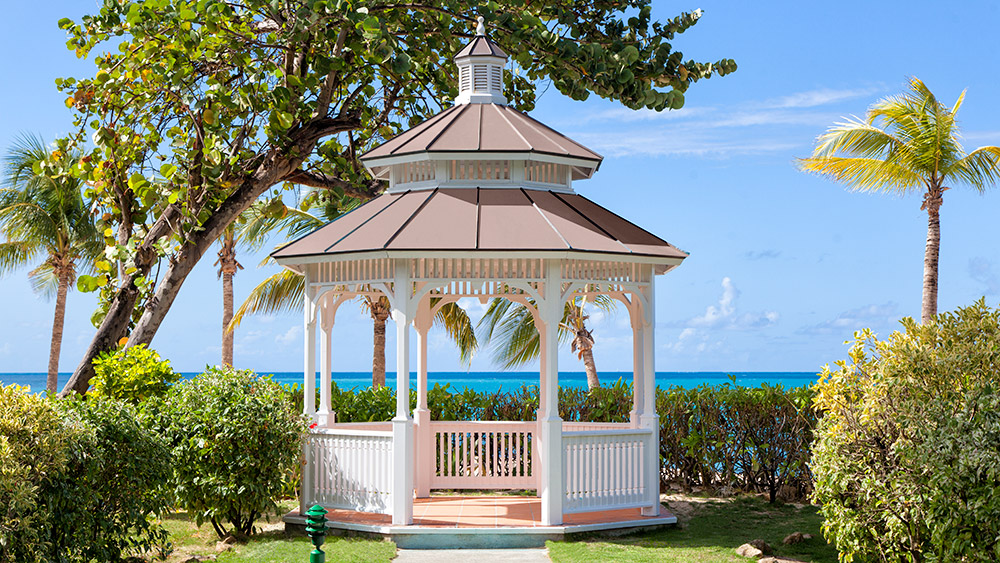 Wooden gazebo at Galley Bay Resort & Spa