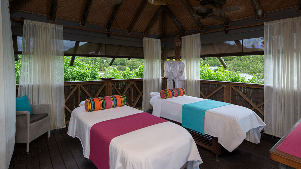 Treatment tables at the spa at Galley Bay Resort & Spa