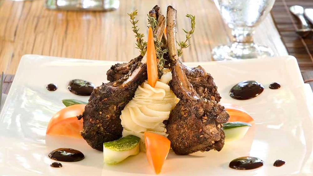 Meal of lamb at Julian restaurant at Mango Bay