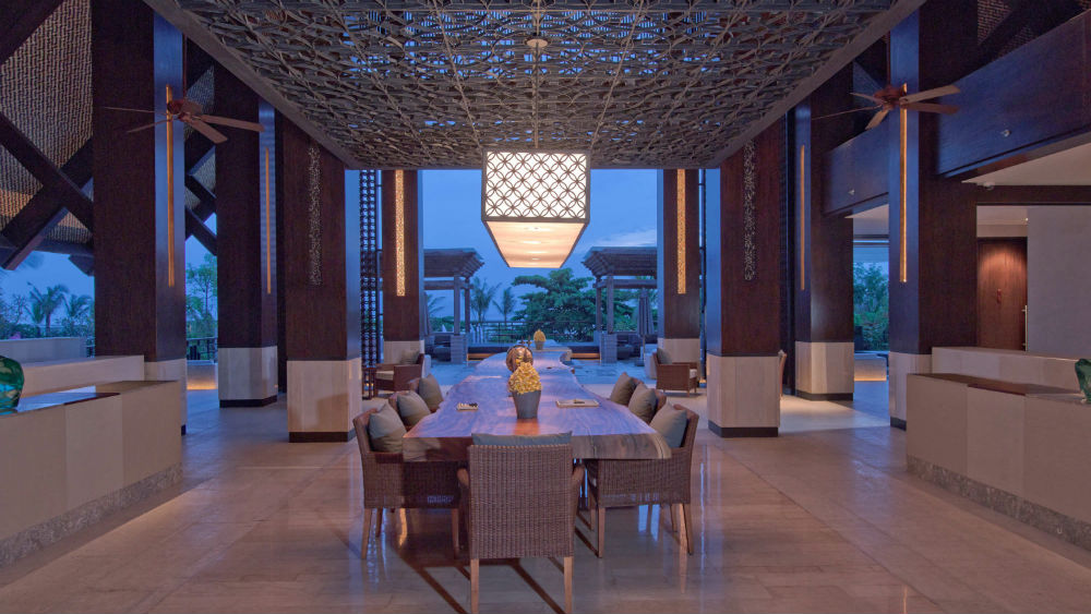 The lobby of the Fairmont Sanur Beach in Bali at night