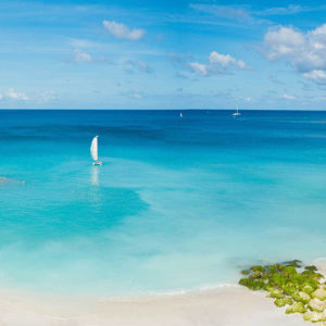 Catamaran in the Caribbean Sea at Mango Bay in Barbados
