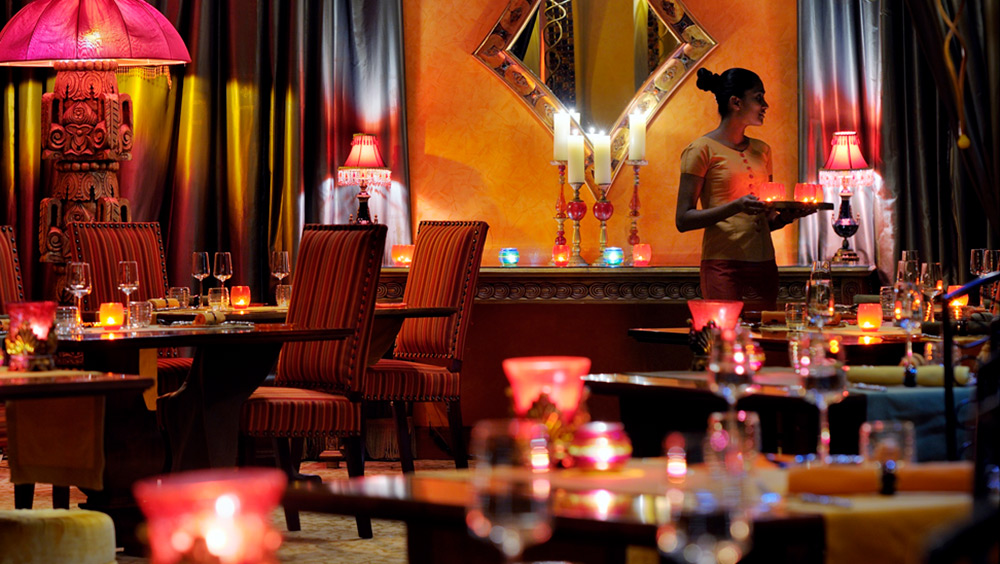 Indoor seating in Nina Restaurant at Arabian Court at One&Only Royal Mirage