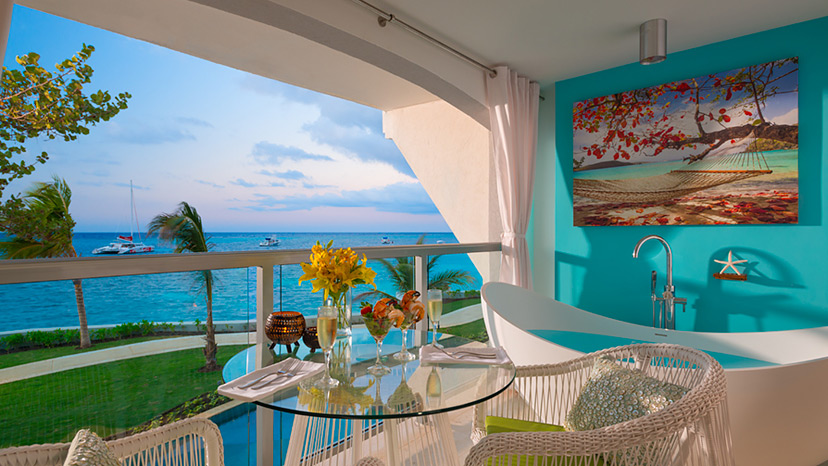 Balcony of the Oceanfront Honeymoon Club Level Room at Sandals Montego Bay