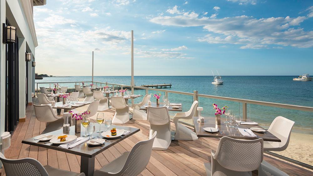 Outdoor dining at Oleander Restaurant at Sandals Montego Bay