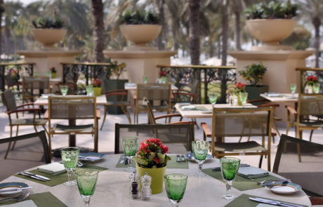 Outdoor seating at Olive Terrace at One&Only Royal Mirage The Palace