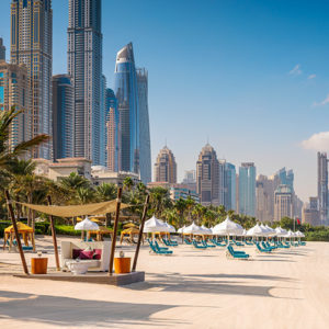 Beach cabanas at Arabian Court at One&Only Royal Mirage