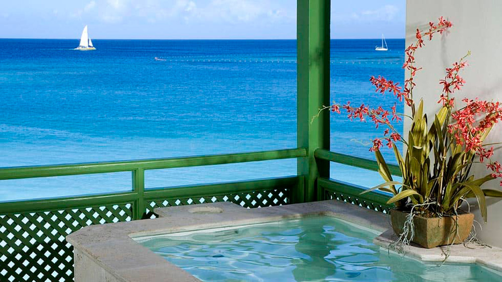 View from the plunge pool in the penthouse at Mango Bay