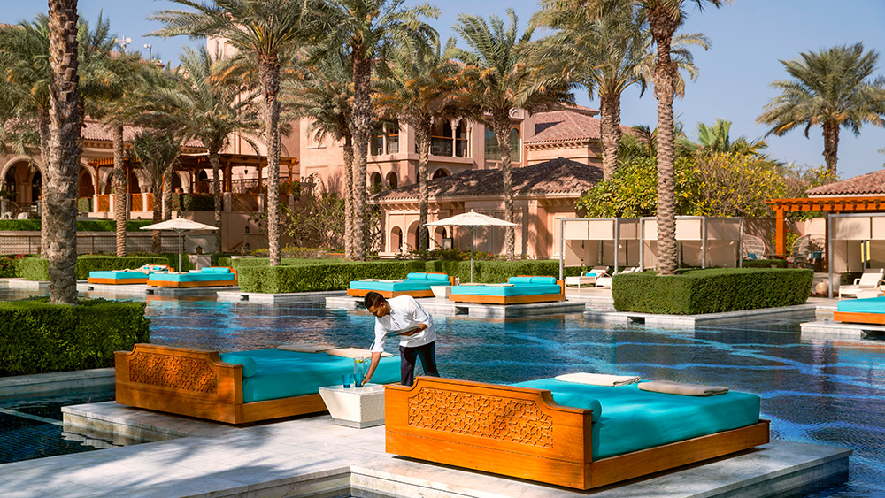 Wait staff at the pool at Manor House at One&Only The Palm