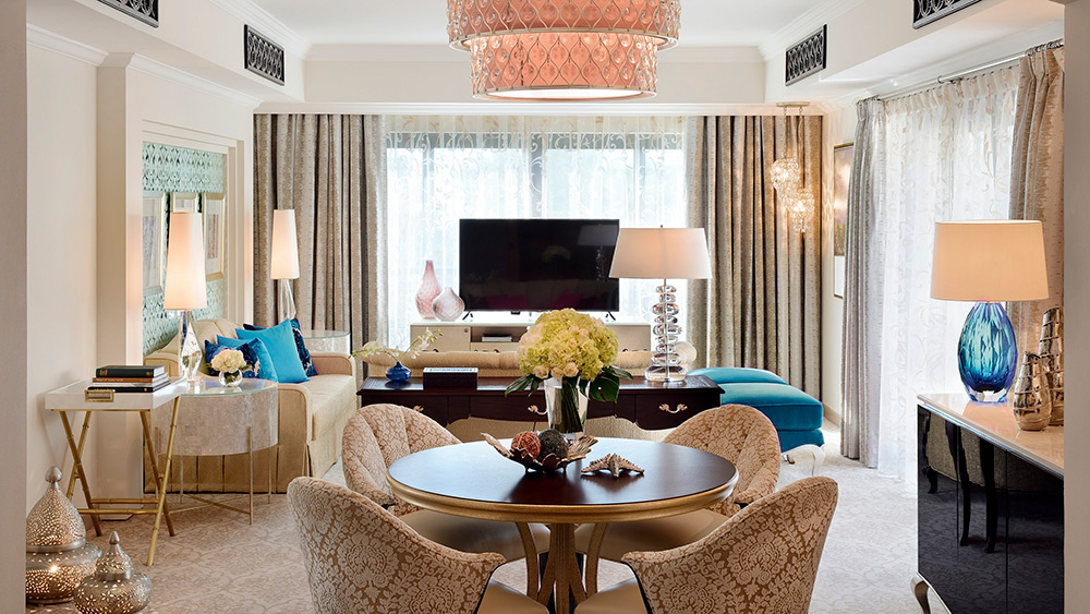Living room of the Prince Suite at One&Only Royal Mirage