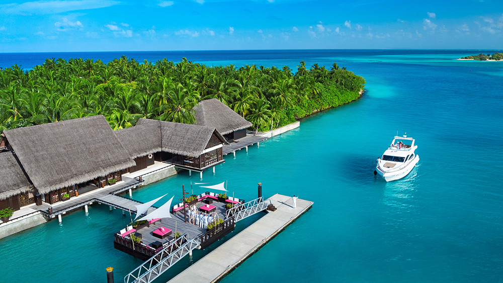 Aerial view of the marina entrance at One&Only Reethi Rah