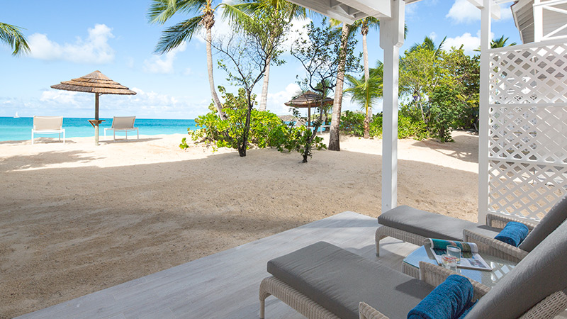 Terrace with beach views at Galley Bay Resort & Spa Antigua
