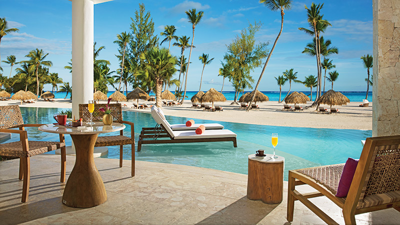 Direct pool access from the room at Secrets Cap Cana in the Caribbean