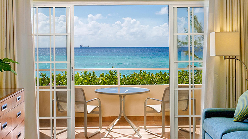 Ocean view from the Junior Suite balcony at Turtle Beach by Elegant Hotels Barbados