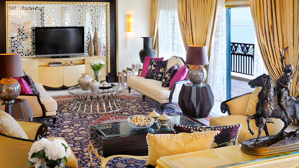 Living room of the Royal Suite at One&Only Royal Mirage