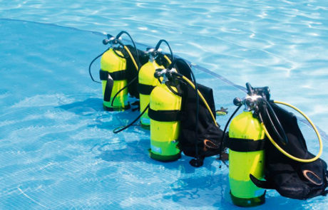 Diving equipment in the pool at Mango Bay