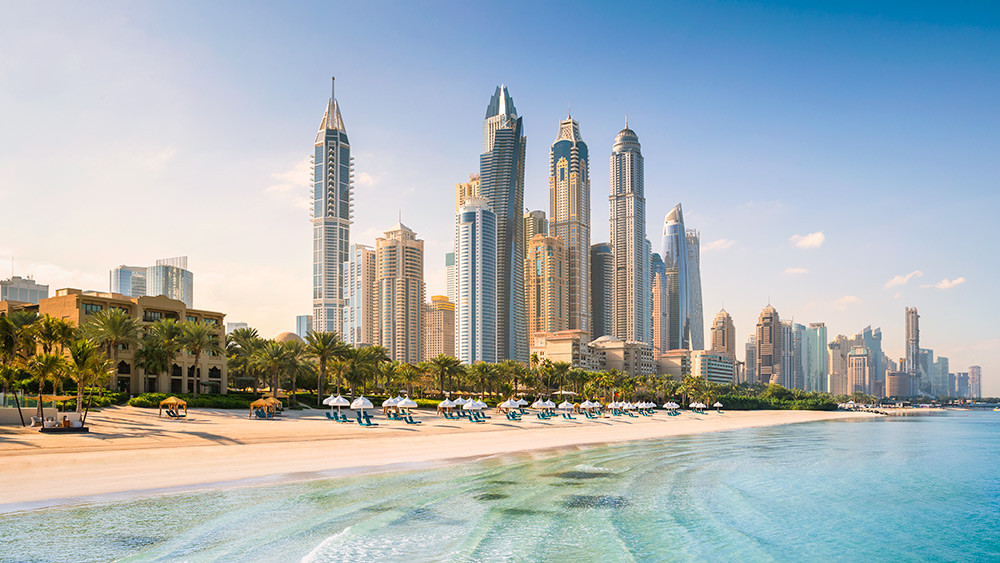 Dubai skyline from the beach at Arabian Court at One&Only Royal Mirage