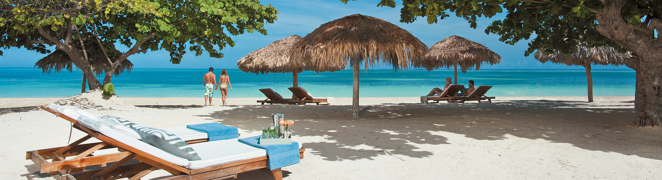 Sunlounges on the beach at Sandals Montego Bay