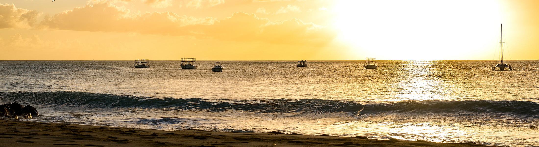 Sunset on the west coast of Barbados at Mango Bay
