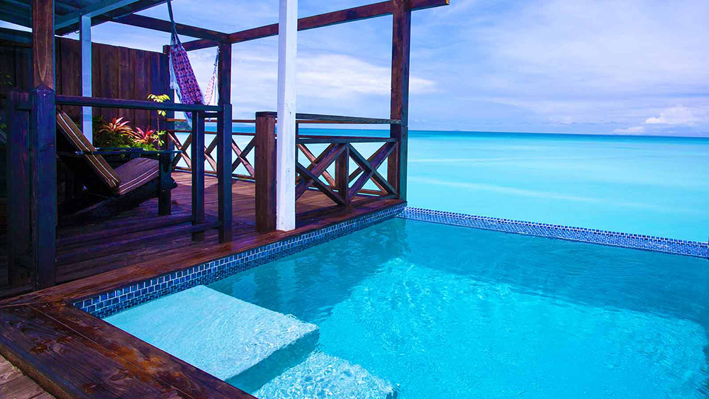 Private plunge pool with sea views in the Sunset Pool Cottage at Cocos Hotel