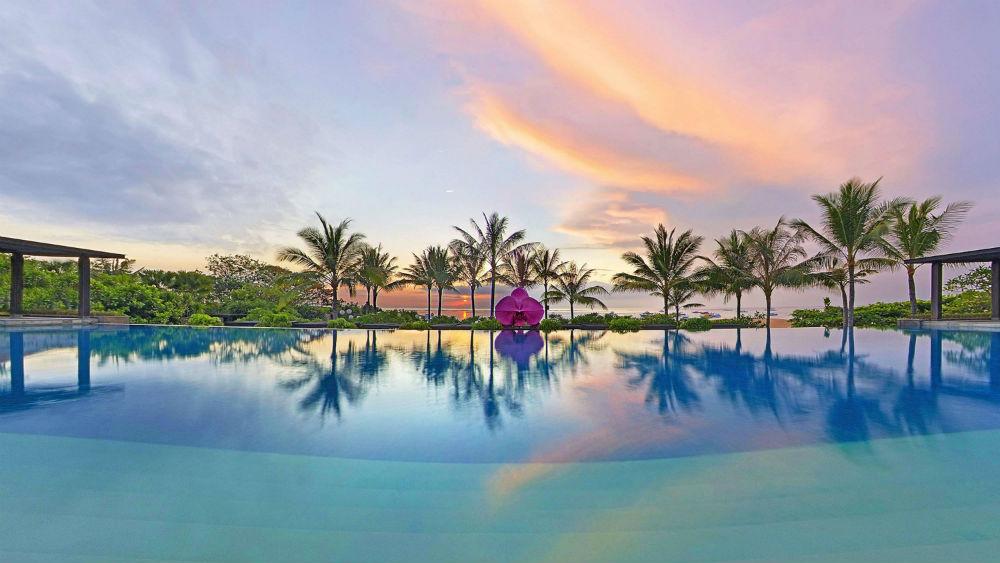 Sunset pool view at Fairmont Sanur Beach Bali