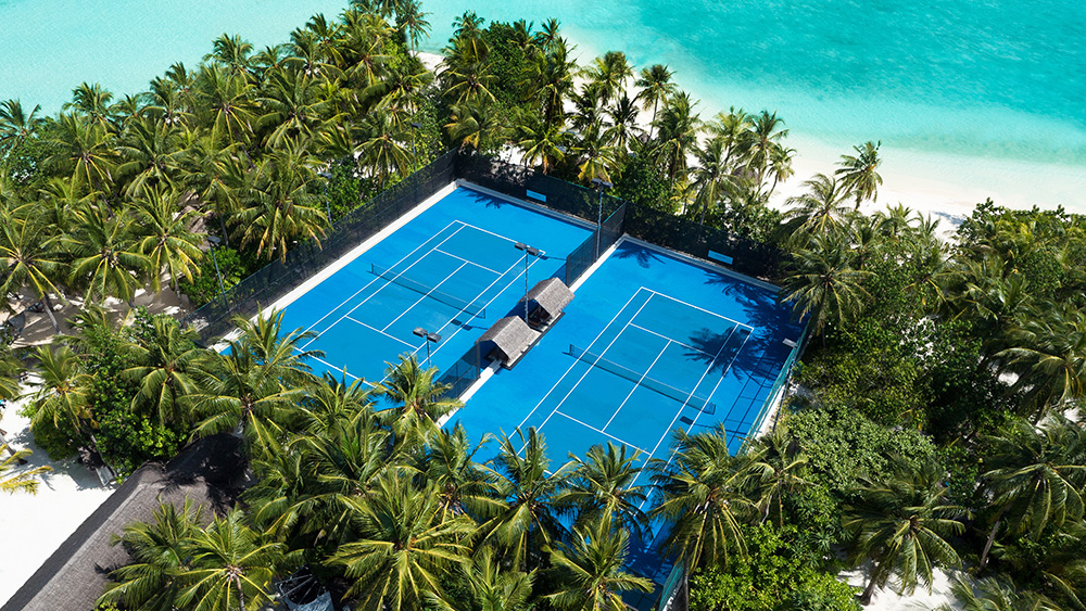 Aerial view of the tennis courts at One&Only Reethi Rah