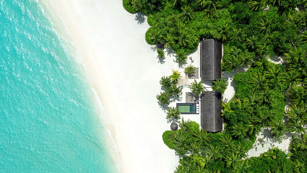 Aerial view of the Two Villa Residence at One&Only Reethi Rah