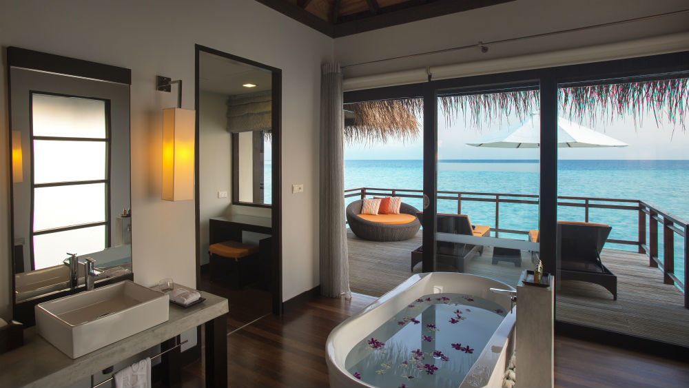 Water Villa bathroom at the Velassaru Maldives