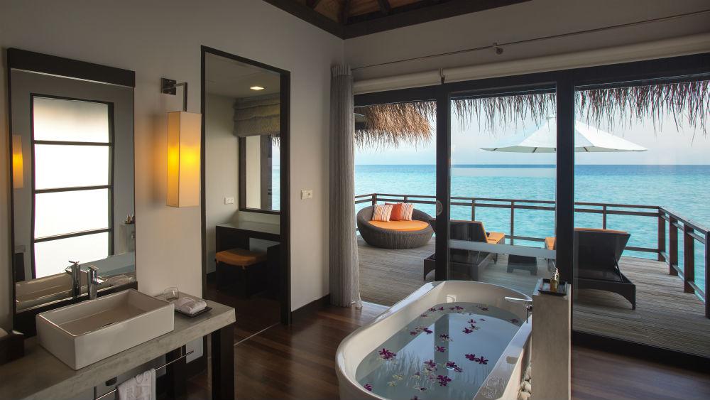 Water Villa bathroom at the Velassaru Maldives