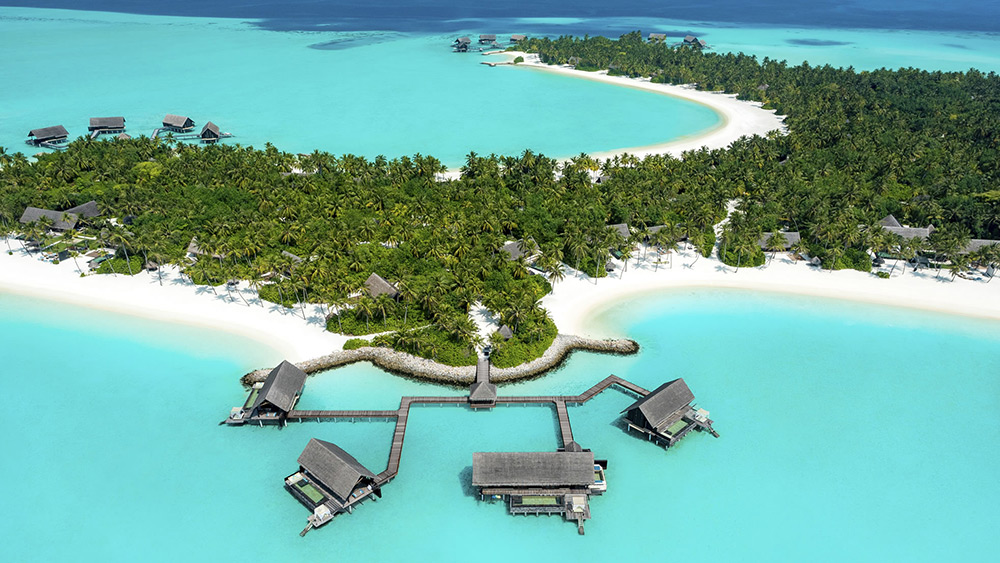 Aerial view of the Water Villas at One&Only Reethi Rah